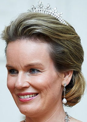Diamond Necklace Tiara () by Wolfers for Queen Fabiola here Queen Mathilde 1